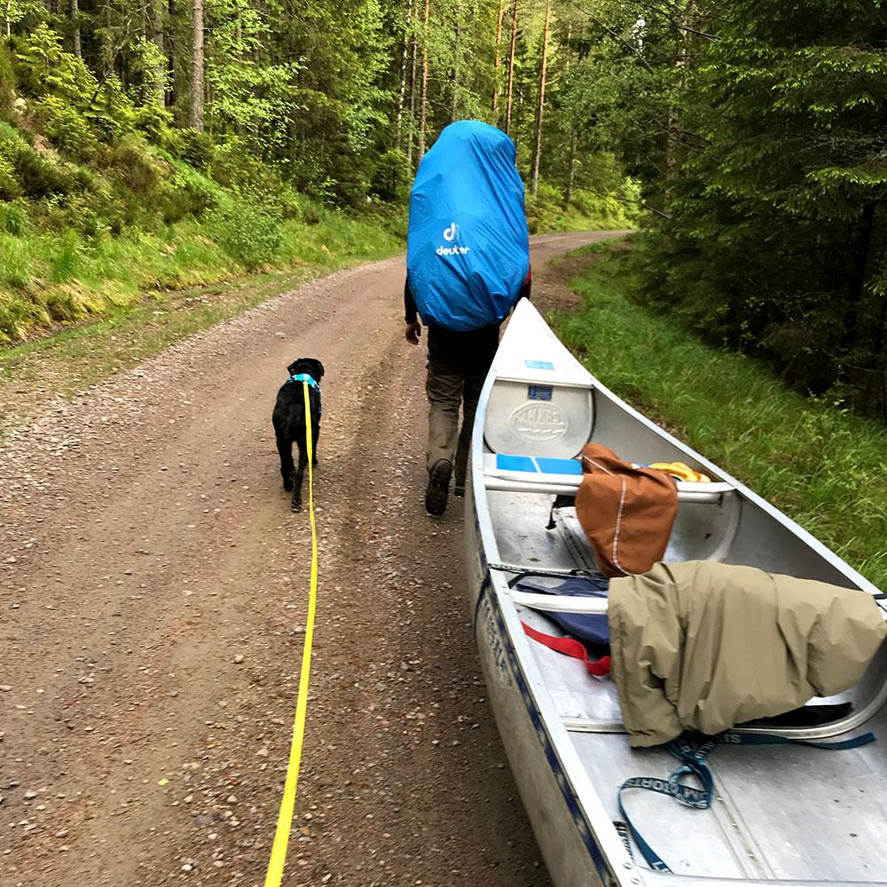 Wandern mit Kanu im Wald